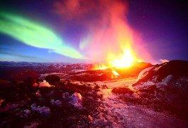 Imágenes impresionantes: auroras boreales y volcanes islandeses
