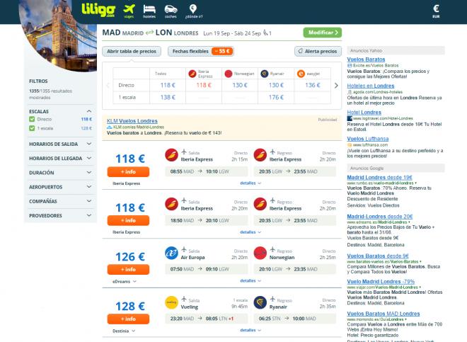 Página de resultados liligo.com