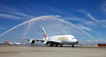 El A380 de Emirates en Madrid