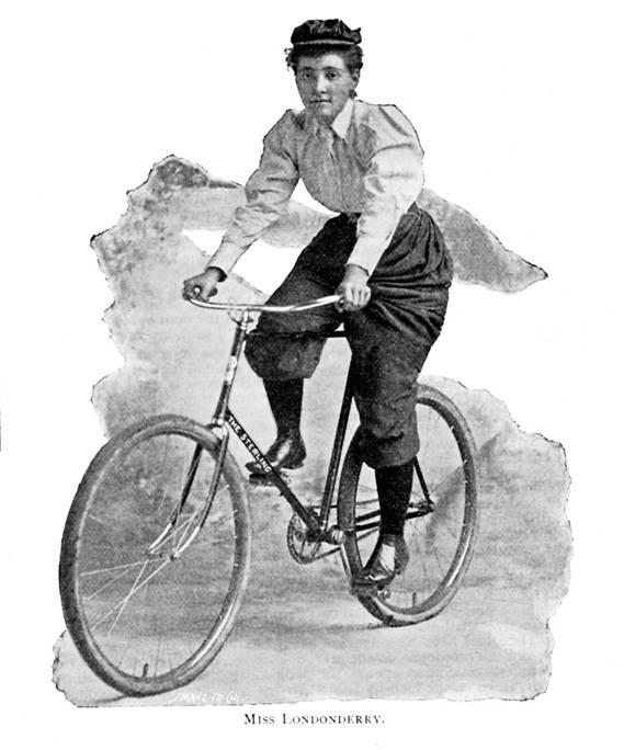 Ilustración de Annie Cohen Kopchovsky en bicicleta