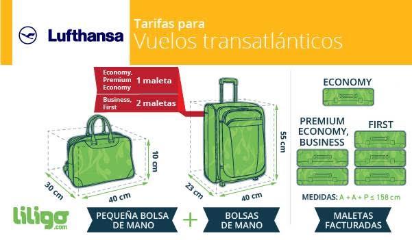 Equipaje en Lufthansa: vuelos transatlánticos