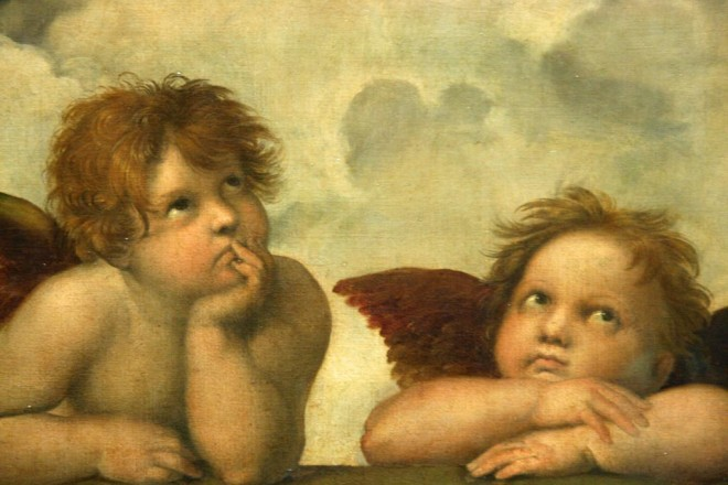 Famosos angelitos, detalle del cuadro la Madona Sixtina