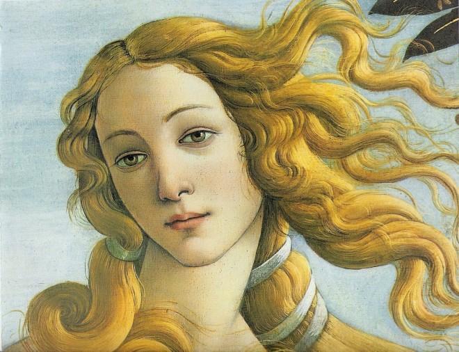 """Detalle de Afrodita de """"El Nacimiento de Venus"""""""