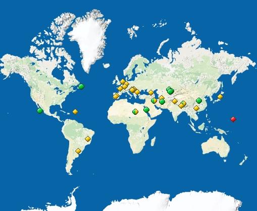 Mapa de los 21 nuevos lugares declarados Patrimonio Mundial