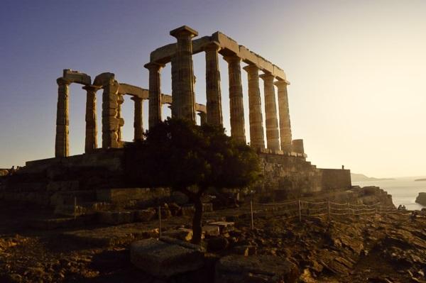 Atardecer en Cabo Sunion, en Grecia