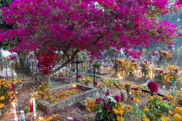 Cementerio mexicano en el Día de los Muertos