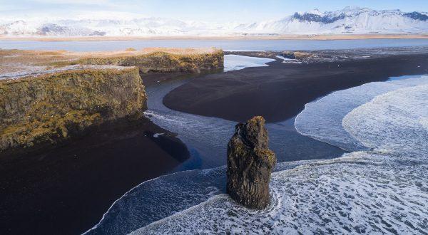 Playa de arena negra de Vaki (Islandia)
